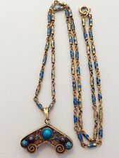 "Vintage Chinese Export Gilt Silver Filigree Enamel Pendant And 20"" Necklace"