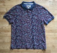 Original Penguin Floral Spotted Pink Blue Polo Shirt Short Sleeved M Slim Fit