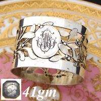 """Antique French Sterling Silver 2"""" Napkin Ring, Ornate Reticulated Foliage"""
