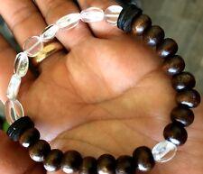 Satyaloka Clear Azeztulite African Nut Bead Wood Spiritual Healing Bracelet 7.5