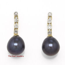 14k Yellow Gold & Sparkling Diamonds; Black Cultured Pearl Stud Earrings TPJ