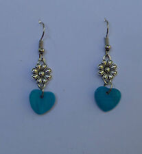 LOVELY HEART AND FLOWER SILVER PLATED EARRINGS RICH TURQUOISE SHELL HEART