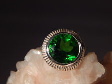 10.55 Ct. Round Faceted Moldavite Ring Bezel Set Solitaire Style Sterling Silver