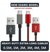 Braided 20AWG Strong Nylon Micro USB Fast Charger Cable for Samsung Galaxy S6 S7