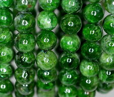 """8MM CHROME DIOPSIDE GEMSTONE GREEN ROUND LOOSE BEADS 7"""""""