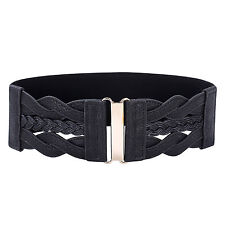 "GK Women Ladies Girls Fashion 3"" Wide Braided Leather Stretchy Slim Waist Belts"