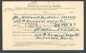 1943 Official Business Form #204 War Dept Change Of Address For Military Men