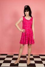 Círculo de Verano Caliente Rosa Vintage Brocade Falda Vestido de swing-Verano Boda