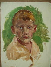 Russian Ukrainian Soviet Oil Painting Child Portrait