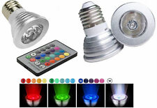 Faretto RGB base E27.LED multicolore 3W.Faro lampada controllo infrarossi.E 27