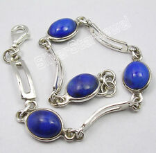 "925 Sterling Silver Beautiful LAPIS LAZULI FACTORY DIRECT Bracelet 7.5"""