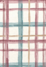 Teal Maroon Rose Tan Plaid Kimiko Watercolor Striped Double Roll Wallpaper