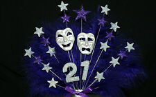Oscar Night / Theatre Mask with age and Feathers Birthday/ Occasion Cake Topper
