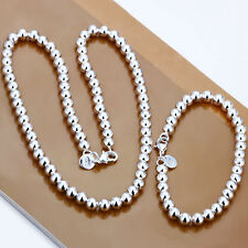 Hot Wholesale 8MM Sterling Silver Beads Necklace&Bracelet Set TS04+Box For Gift
