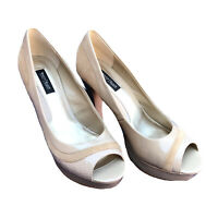 White House Black Market Heels 9 Peep Toe Patent Leather Suede Snakeskin Beige
