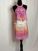 BCBG MaxAzria Dress Women Multicolor Floral Silk Ruffle Halter Dress XS