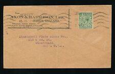 GB kg5 1927 publicité maillot enveloppe Axon + Harrison.. annuler machine