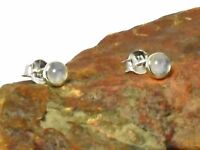 Round MOONSTONE  Sterling  Silver  925  Gemstone  Stud  Earrings  -  4 mm