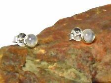 MOONSTONE   Sterling  Silver  925  Gemstone  Earrings  / STUDS  -  4 mm