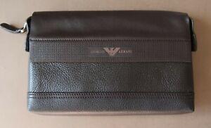 Georgio Armani Brown Italian Leather Men'sClutch Bag