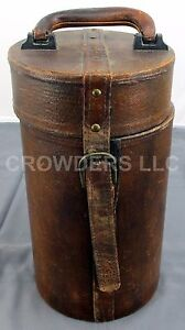 "Round Wood & Leather Canister Optics Case w/ Magnetic Clasp 14"" Tall 7"" Diameter"