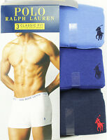 NEW POLO RALPH LAUREN 3 PACK CLASSIC FIT BLUE COTTON UNDERWEAR BOXER BRIEFS L