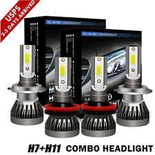 4x Combo H7 H11 Led Headlight Bulbs Kit 3000W 450000LM High Low Beam 6000K White