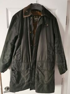 Vintage Men's Barbour Border Waxed Jacket Size C38 Made In England Pile Lining