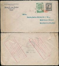 COLOMBIA 1923 BOXED LANGSTAFF SLOGAN + GB INFO BUREAU...RED AIRMAIL...VAN ARCKEN