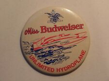 Miss Budweiser Beer Button Unlimited Hydroplane
