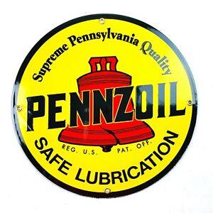 Vintage-StylePorcelain Gasoline Sign Pennzoil Reproduction Retro Man Cave Gift