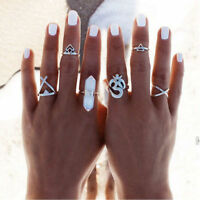 6Pc/set Silver Plated Women Boho Metal Knuckle Midi Mid Finger Tip Stacking Ring