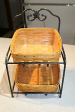 Longaberger Set of 2 Baskets with Wrought Iron Holder and protectors