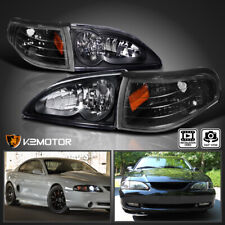 For 1994-1998 Ford Mustang Cobra Black Headlights+Corner Signal Lights Lamps
