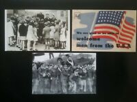 3 CARD WWII POSTCARD SIZE 2 SIDED WITH AMERICAN ARMED FORCES PHOTO'S ETC