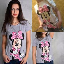 Damen Mädchen Cartoon Minnie Mouse Rundhals Kurzarm T-Shirt Bluse Oberteil