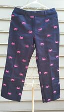 LILLY PULITZER Denim Embroidered Crab Crop Pants Sz 4