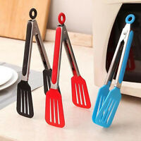 Kitchen BBQ Tongs Silicone Cooking Salad Serving Stainless Steel Handle Pop