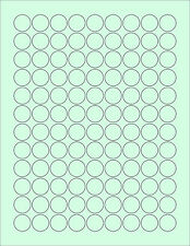 """648  3/4""""ROUND CIRCLE BLANK GREEN STICKERS LABEL KISSES STANDARD SIZE 8-1/2 X 11"""