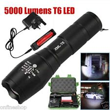 5000LM Tactical T6 Zoomable LED Flashlight Rechargeable Adjustable Torch Lamp