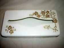 VINTAGE TOLE TISSUE BOX HP RHINESTONES RANSBURG GOLD FLOWERS CHIC SHABBY