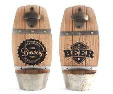Wooden Wall Mounted Beer Barrel Keg Bottle Opener With Cap Catcher ~ Design Vary