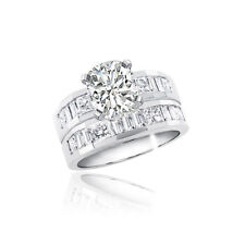 4 Carat Cushion Cut 18k White Gold Diamond Bridal Set Ring GIA Certified