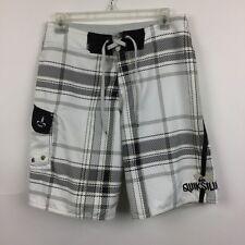 Quicksilver Board Shorts Sz 28 Swim Trunk Black White Pocket Men's
