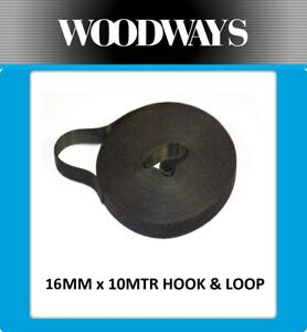 16mm Hook and Loop roll 10 metre Double Sided Heavy Duty 10m Black