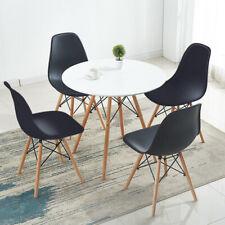 EGGREE 80cm Weißer runder Esstisch und 4 Stühle Schwarze Farbe Stühle gesetzt