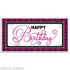 1,65 M Elegante Nero e Rosa Happy Birthday Party GIANT SIGN BANNER Decorazione