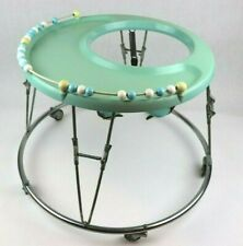 Vintage Antique Baby Walker Hoola Bouncer Leather Straps Collapsible 1960's NICE