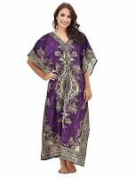 One Size Plus Long Kaftan Tunic Holiday Beach Boho Dress Cover Up Gown Purple