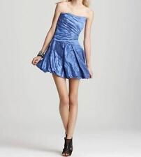 NICOLE MILLER STRAPLESS TECHNO METAL BLUE CUT THE CAKE DRESS SZ 0 $440 CA0449
